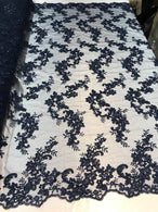 Floral Lace Fabric - Navy - Flowers Embroidery Sequins Mesh Design Fabric Sold By The Yard