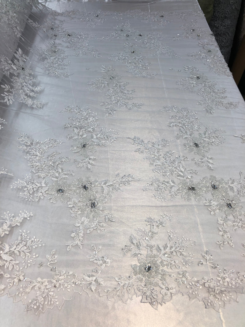 Beaded Fabric - White - Embroidered Flower Lace Fabric with Beads On A Mesh Sold By The Yard