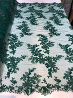 Beaded Fabric - Hunter Green - Embroidered Flower Lace Fabric with Beads On A Mesh Sold By The Yard