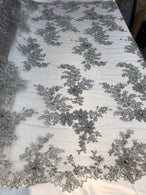 Beaded Fabric - Silver - Embroidered Flower Lace Fabric with Beads On A Mesh Sold By The Yard