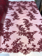 Beaded Fabric - Burgundy - Embroidered Flower Lace Fabric with Beads On A Mesh Sold By The Yard