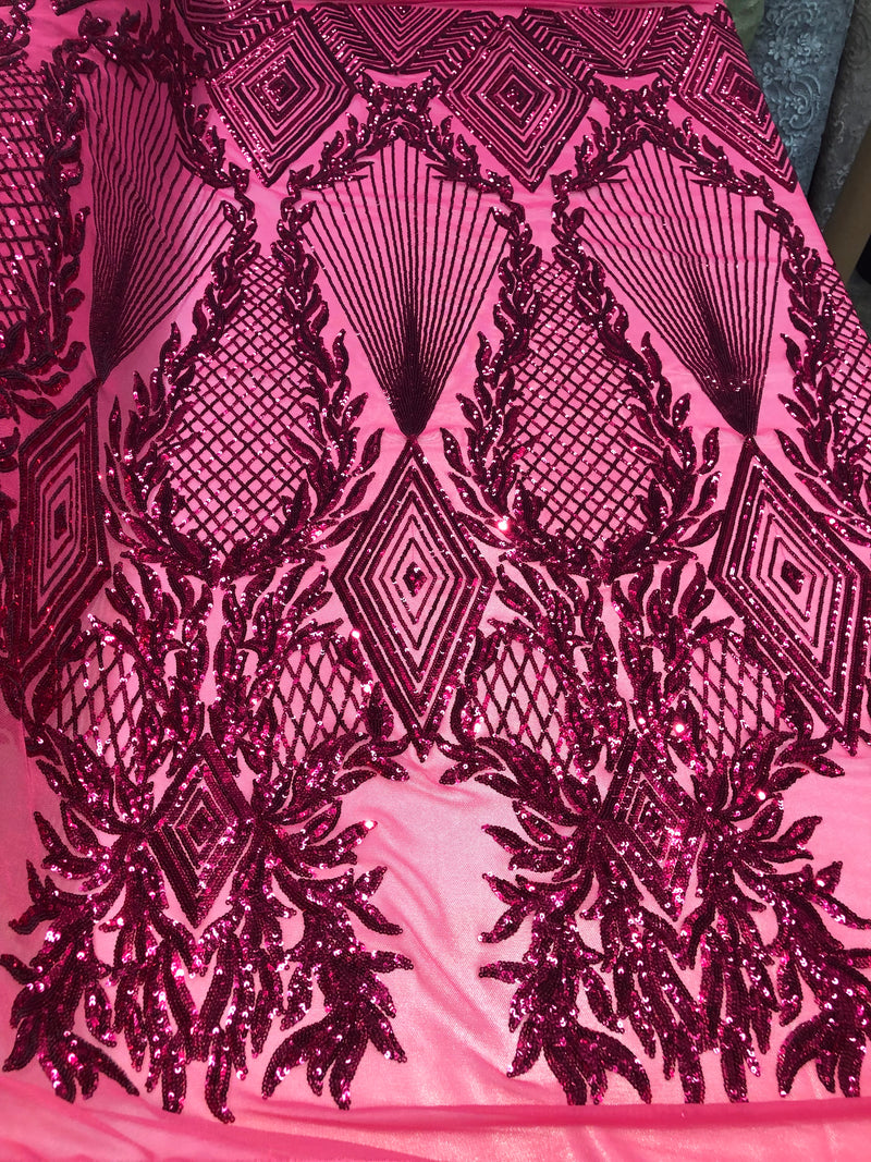 4 Way Stretch - Fuchsia Geometric Design Sequins On Mesh Beautiful Fashion Fabrics Sold By Yard