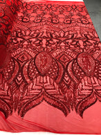 4 Way Stretch - Red - Sequins Mesh Design Fancy Dress Fabric Sold By The Yard
