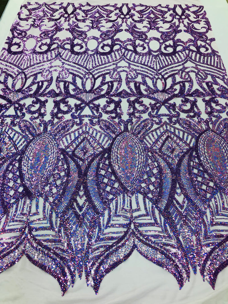 4 Way Stretch - Hologram Lilac - Sequins Mesh Design Fancy Fabric Sold By The Yard