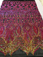 4 Way Stretch - Hologram Fuschia Orange - Sequins Mesh Design Fancy Fabric Sold By The Yard
