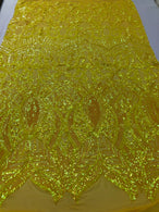 4 Way Stretch - Hologram Yellow - Sequins Mesh Design Fancy Fabric Sold By The Yard