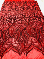 4 Way Stretch - Hologram Red - Sequins Mesh Design Fancy Fabric Sold By The Yard