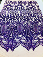 4 Way Stretch - Hologram Purple - Sequins Mesh Design Fancy Fabric Sold By The Yard