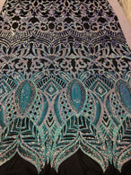 4 Way Stretch - Iridescent Baby Blue - Sequins Mesh Design Fancy Fabric Sold By The Yard