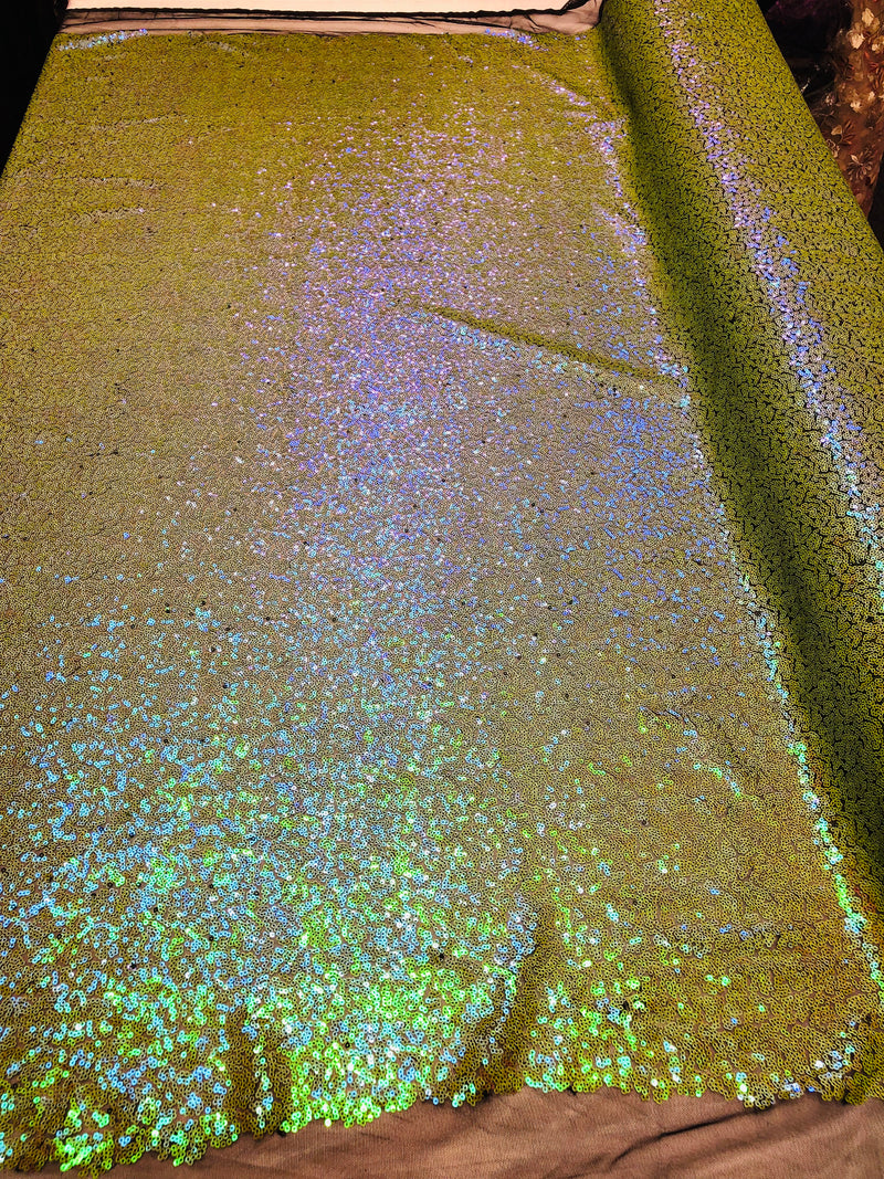 Mini Glitz Sequins - Avocado Green - 2 Way Stretch Shiny Sequins Mesh Fabric Sold By The Yard