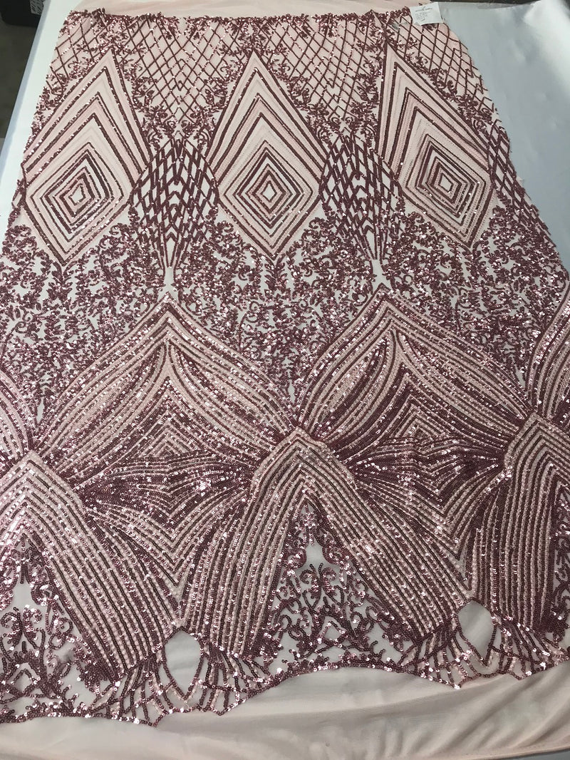 Geometric Sequins Fabric with 4 Way Stretch - Pink -  Elegant Lace Fabrics Sold By The Yard