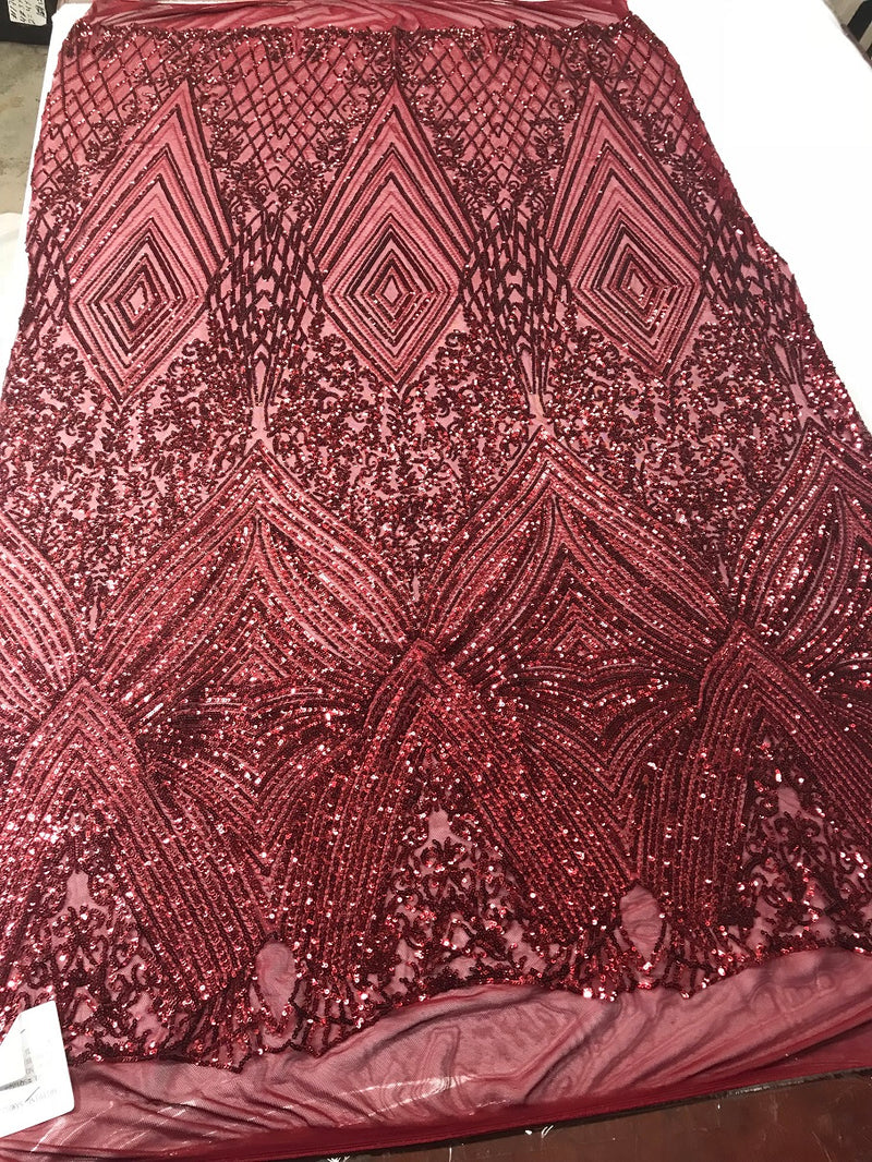 Geometric Sequins Fabric with 4 Way Stretch - Burgundy -  Elegant Lace Fabrics Sold By The Yard