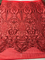 Design Sequins Fabric with 4 Way Stretch - Red -  Beautiful Fabrics Sold By The Yard