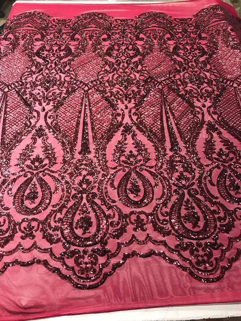Fancy Design Sequins Fabric with 4 Way Stretch - Burgundy  -  BeautifulFabrics Sold By The Yard