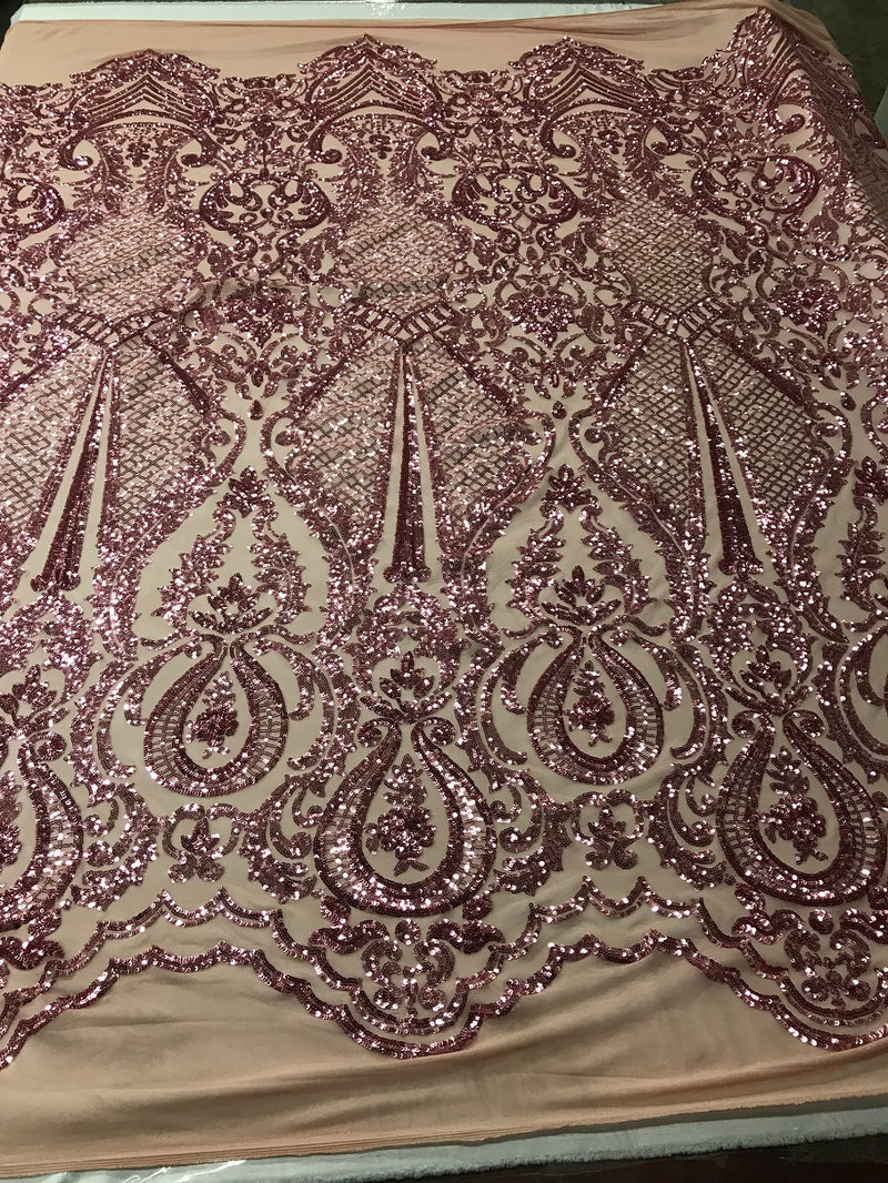Fancy Design Sequins Fabric with 4 Way Stretch - Pink -  Beautiful Fabrics Sold By The Yard
