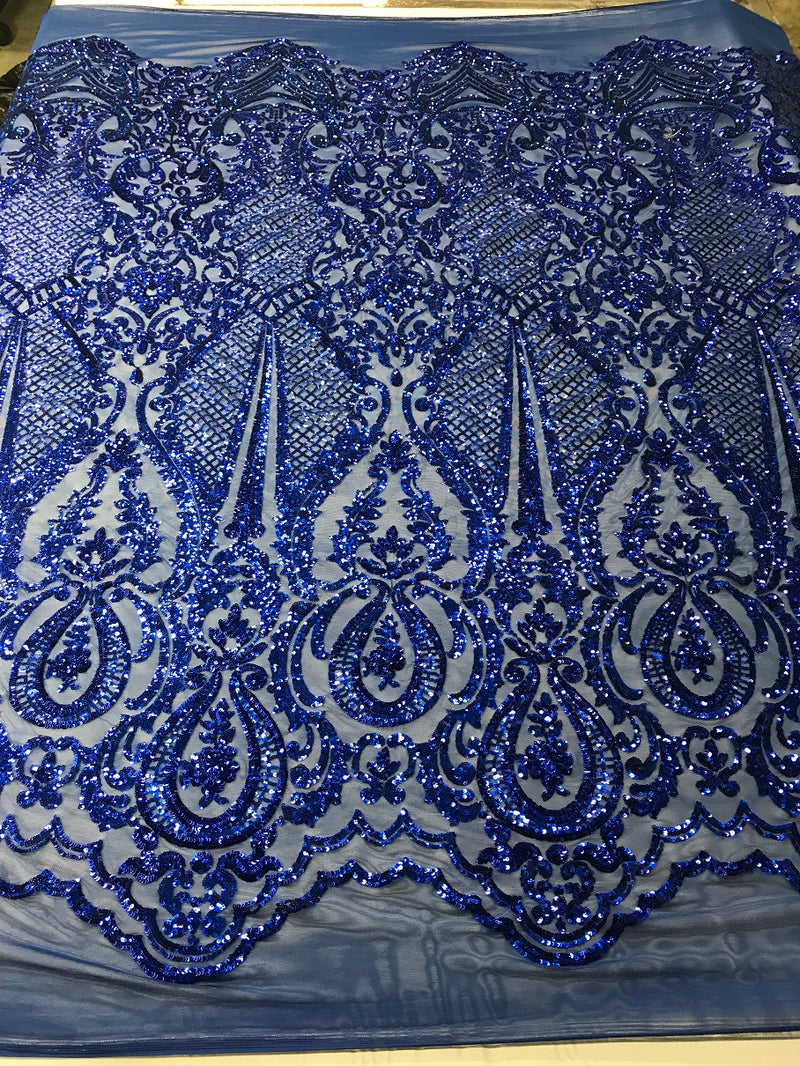 Fancy Design Sequins Fabric with 4 Way Stretch - Royal Blue -  Beautiful Fabrics Sold By The Yard