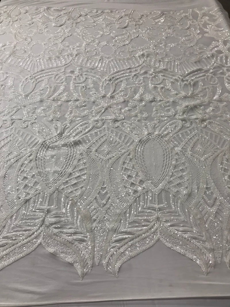 Sequins Fabric 4 Way Stretch By The Yard - White - Embroidered Mesh Fabric By The Yard