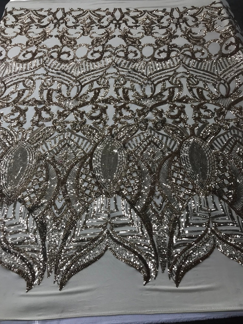 Fabric 4 Way Stretch By The Yard - Champagne - Embroidered Mesh Fabric Sold By The Yard