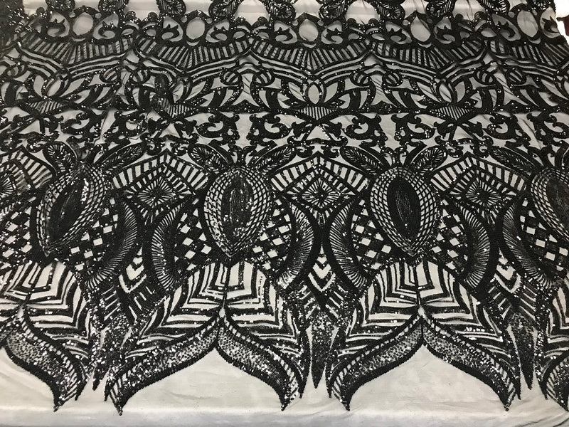 Fabric 4 Way Stretch By The Yard - Black - Embroidered Mesh Fabric Sold By The Yard