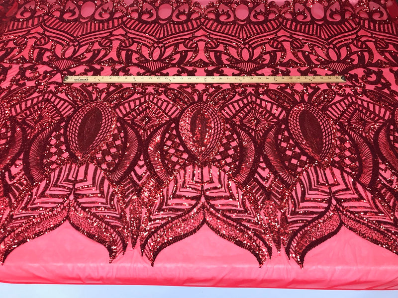 Fabric 4 Way Stretch By The Yard - Red Sequins - Embroidered Mesh Design Fabric By The Yard