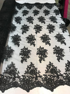 Flower Lace Fabric - Black - Floral Clusters Embroidered Lace Mesh Fabric Sold By The Yard