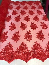 Flower Lace Fabric - Red - Floral Clusters Embroidered Lace Mesh Fabric Sold By The Yard