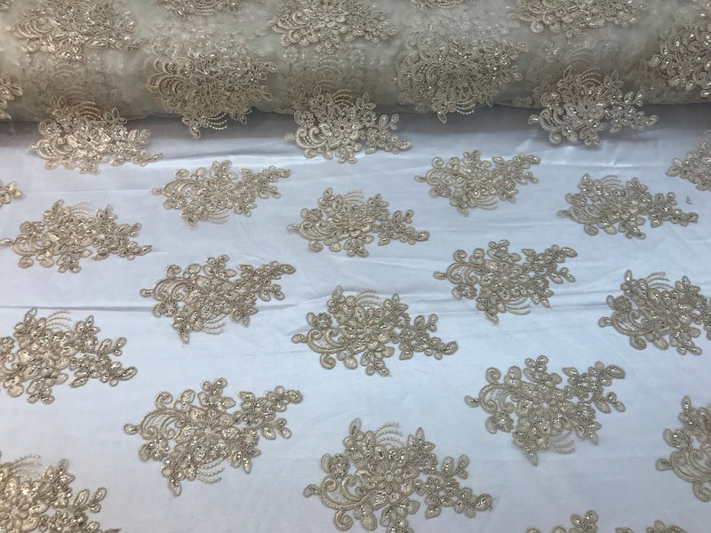 "Champagne 54/"" WEDDING DRESS PROM GOWN FLORAL EMBROIDERY MASTER LACE FABRIC"