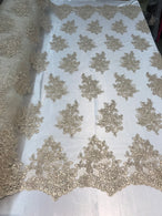 Flower Lace Fabric - Champagne - Floral Clusters Embroidered Lace Mesh Fabric Sold By The Yard