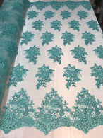 Flower Lace Fabric - Mint - Floral Clusters Embroidered Lace Mesh Fabric Sold By The Yard