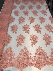 Flower Lace Fabric - Coral - Floral Clusters Embroidered Lace Mesh Fabric Sold By The Yard