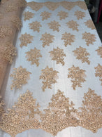 Flower Lace Fabric - Peach - Floral Clusters Embroidered Lace Mesh Fabric Sold By The Yard