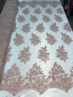 Flower Lace Fabric - Blush - Floral Clusters Embroidered Lace Mesh Fabric Sold By The Yard