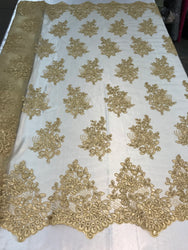 Flower Lace Fabric - Gold - Floral Clusters Embroidered Lace Mesh Fabric Sold By The Yard
