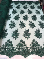 Flower Lace Fabric - Hunter Green - Floral Clusters Embroidered Lace Mesh Fabric Sold By The Yard