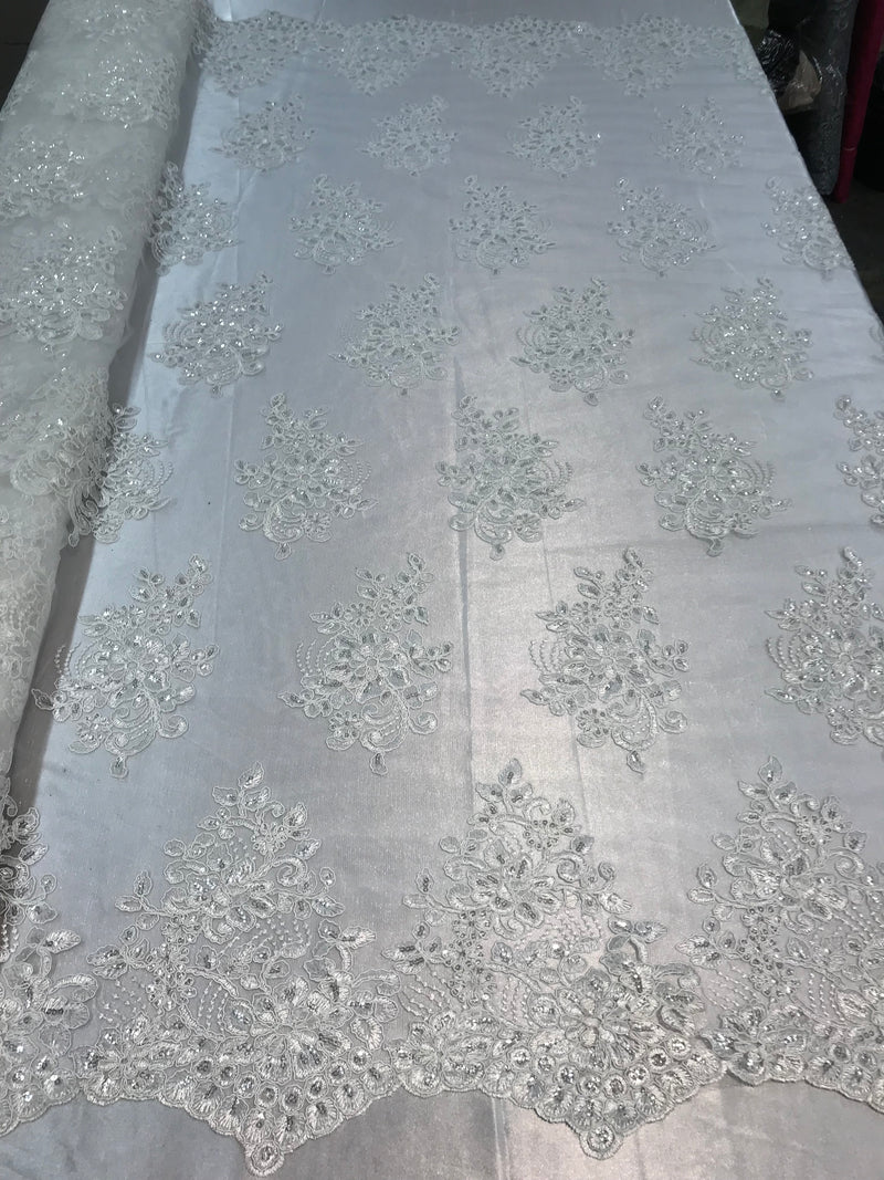 Flower Lace Fabric - Ivory - Floral Clusters Embroidered Lace Mesh Fabric Sold By The Yard