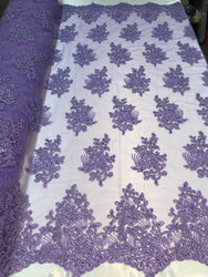 Flower Lace Fabric - Lilac - Floral Clusters Embroidered Lace Mesh Fabric Sold By The Yard
