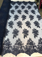 Flower Lace Fabric - Navy - Floral Clusters Embroidered Lace Mesh Fabric Sold By The Yard
