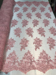 Flower Lace Fabric - Pink - Floral Clusters Embroidered Lace Mesh Fabric Sold By The Yard