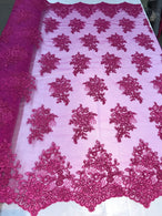 Flower Lace Fabric - Magenta - Floral Clusters Embroidered Lace Mesh Fabric Sold By The Yard