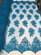 Flower Lace Fabric - Teal - Floral Clusters Embroidered Lace Mesh Fabric Sold By The Yard