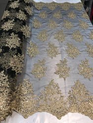Flower Lace Fabric - Gold on Black - Floral Clusters Embroidered Lace Mesh Fabric Sold By The Yard