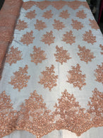 Flower Lace Fabric - Light Peach - Floral Clusters Embroidered Lace Mesh Fabric Sold By The Yard