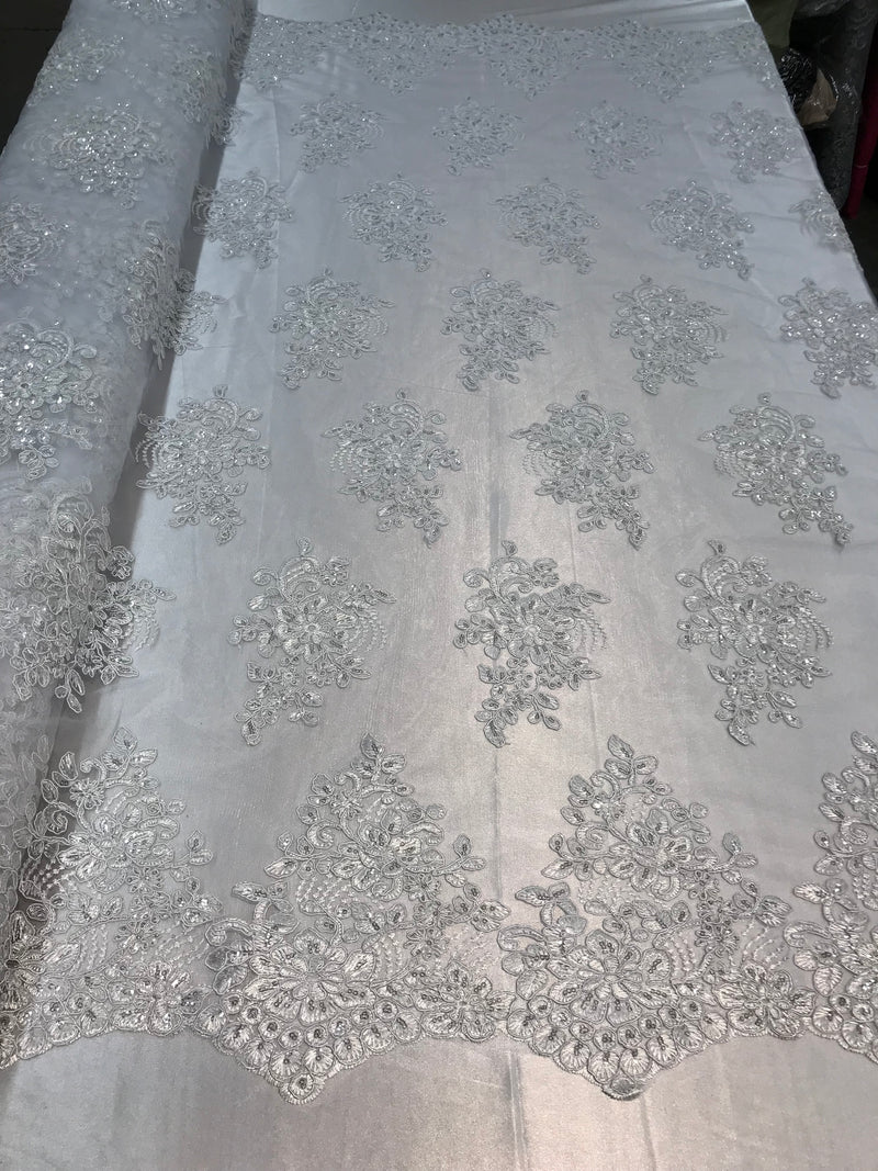 Flower Lace Fabric - White - Floral Clusters Embroidered Lace Mesh Fabric Sold By The Yard