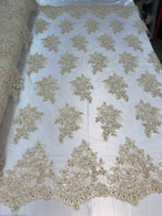 Flower Lace Fabric - Light Beige - Floral Clusters Embroidered Lace Mesh Fabric Sold By The Yard
