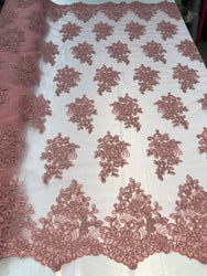 Flower Lace Fabric - Mauve - Floral Clusters Embroidered Lace Mesh Fabric Sold By The Yard