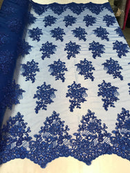 Flower Lace Fabric - Royal Blue - Floral Clusters Embroidered Lace Mesh Fabric Sold By The Yard