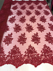 Flower Lace Fabric - Burgundy - Floral Clusters Embroidered Lace Mesh Fabric Sold By The Yard