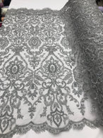Silver Beaded Fabric 3D Damask Design Embroidered 3D Pattern Design Fabric on Mesh Sold By The Yard