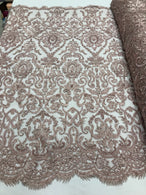 Blush Beaded Fabric 3D Damask Design Embroidered 3D Pattern Design Fabric on Mesh Sold By The Yard