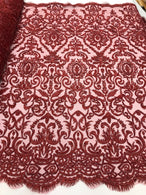 Burgundy Beaded Fabric 3D Damask Design Embroidered 3D Pattern Design Fabric on Mesh By The Yard
